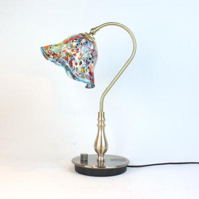 ベネチアングラステーブルランプ fc-210g-silver-smerlate-lightblue