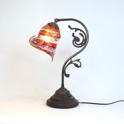 ベネチアングラステーブルランプ fc-600a-calla-sbruffo-red-amber-amethyst