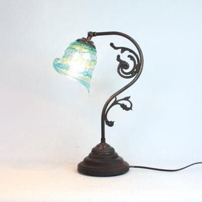 ベネチアングラステーブルランプ fc-600a-calla-sbruffo-lightblue-green