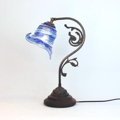 ベネチアングラステーブルランプ fc-600a-calla-sbruffo-blue-lightblue