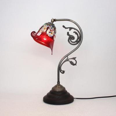 ベネチアングラステーブルランプ fc-600a-fantasy-calla-red