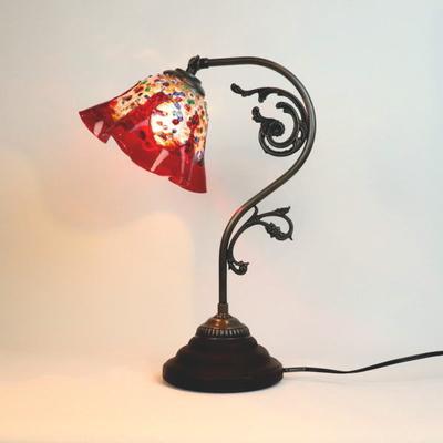 ベネチアングラステーブルランプ fc-600a-fantasy-smerlate-red