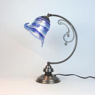 ベネチアングラステーブルランプ dd10ay-calla-sbruffo-blue-lightblue
