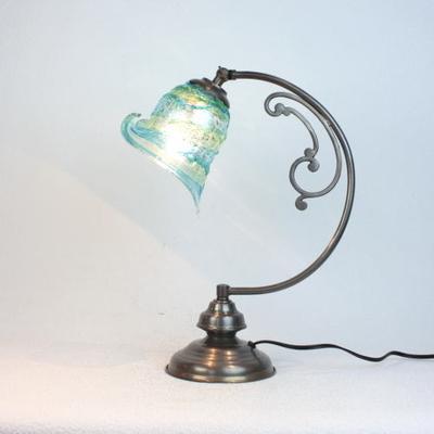 ベネチアングラステーブルランプ dd10ay-calla-sbruffo-lightblue-green