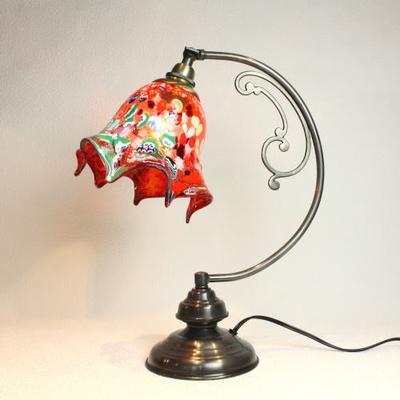 ベネチアングラステーブルランプ dd10ay-fazoletto-red