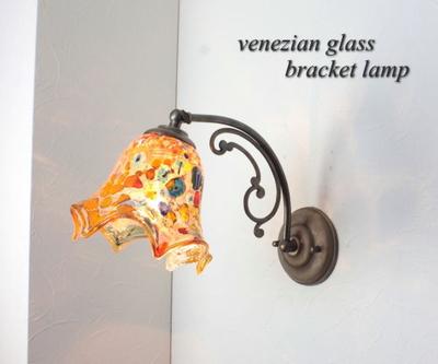 ベネチアングラスブラケットランプ fc-w10ay-fazoletto-amber