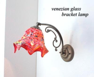 ベネチアングラスブラケットランプ fc-w10ay-fazoletto-red