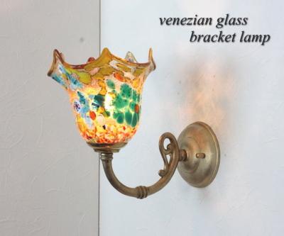ベネチアングラスブラケットランプ fc-w634gy-fazoletto-amber