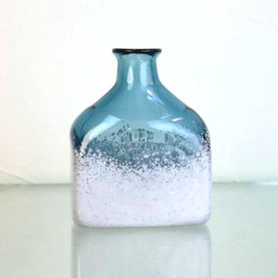 Azzurro Glass Studio flower base・花瓶 keshiki-bottle-steelblue-lightgray