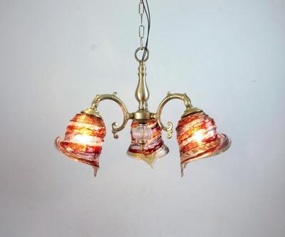 ベネチアングラスシャンデリア  fc-531-calla-sbruffo-red-amber-amethyst