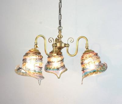 ベネチアングラスシャンデリア  fc-122-calla-sbruffo-amethyst-lightblue-amber