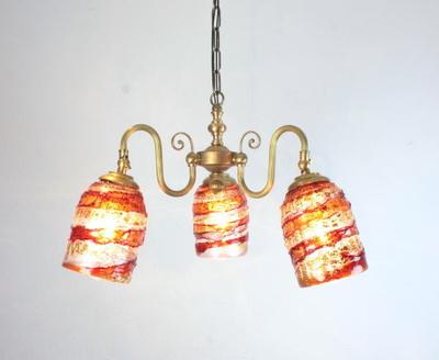 ベネチアングラスシャンデリア  fc-122-sbruffo-red-amber-amethyst