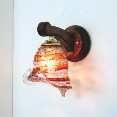ベネチアングラスブラケットランプ fc-ww016g-calla-sbruffo-red-amber-amethyst