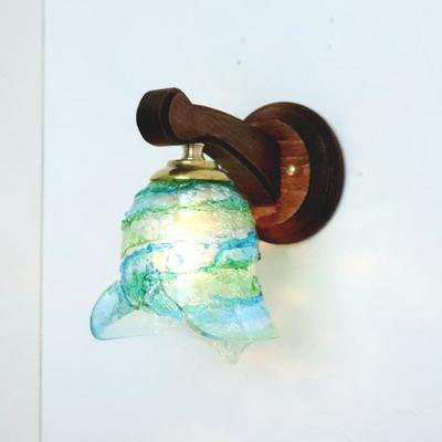 ベネチアングラスブラケットランプ fc-ww016g-calla-sbruffo-lightblue-green