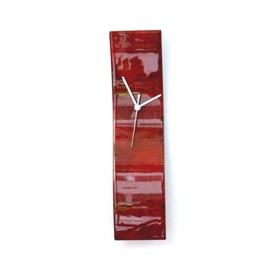 グラスデザイン掛け時計 crackled10x41red