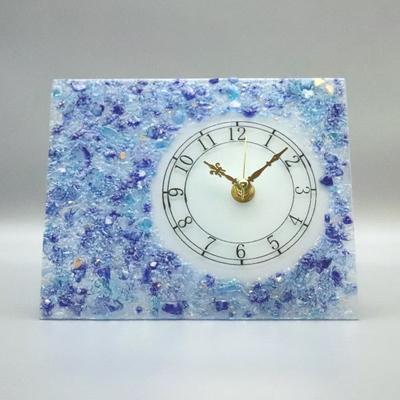 ベネチアングラス置時計 品番.pelt02-86lightblue