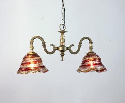 ベネチアングラスシャンデリア  fc-562-smerlate-sbruffo-red-amber-amethyst