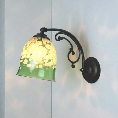 no17 Azzurro Glass Studioブラケットランプ fc-w10ay-bell-emerald-ivory-no17