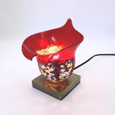 ベネチアングラステーブルランプ 034-fantasy-calla-red