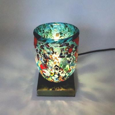 ベネチアングラステーブルランプ 034-silver-goto-lightblue