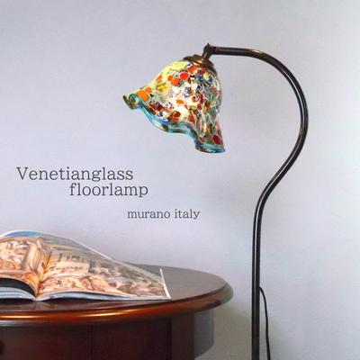 ベネチアングラスフロアライト fc-580a-silver-smerlate-lightblue