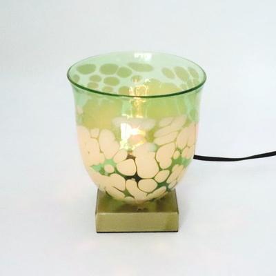no17・Azzurro Glass Studioテーブルライト 034-bell-emerald-ivory-no17