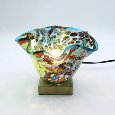 ベネチアングラステーブルランプ 034-silver-smerlate-lightblue