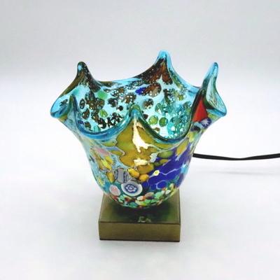 ベネチアングラステーブルランプ 034-silver-fazoletto-lightblue