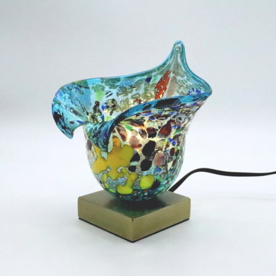 ベネチアングラステーブルランプ 034-silver-calla-lightblue
