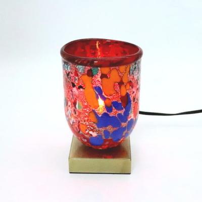 ベネチアングラステーブルランプ 034-silver-goto-red