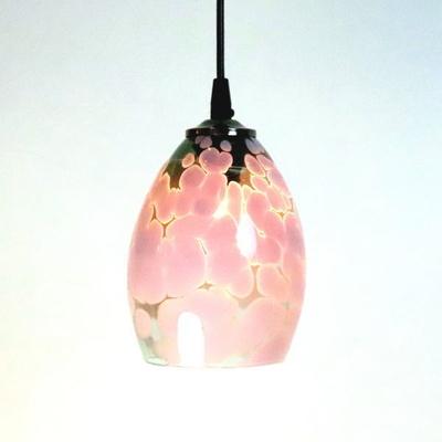 no4  Azzurro Glass Studioペンダントランプ frit-violet-smokedgreen-no4