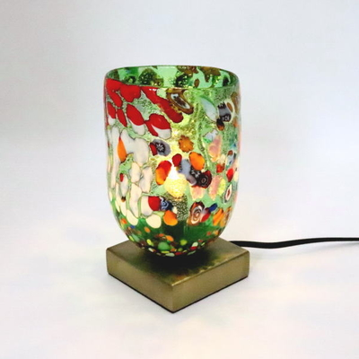 ベネチアングラステーブルランプ 034-silver-goto-green
