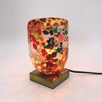ベネチアングラステーブルランプ 034-silver-goto-amber