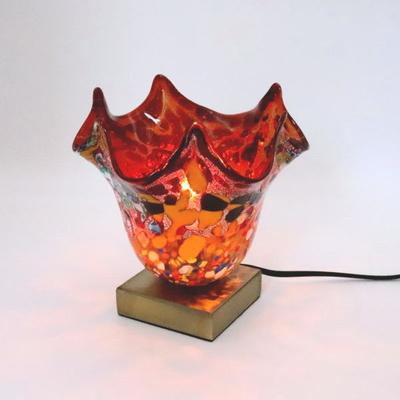 ベネチアングラステーブルランプ 034-silver-fazoletto-red