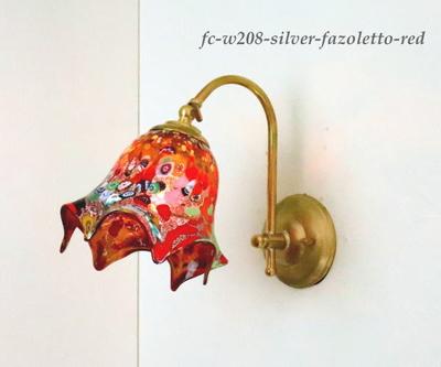 ベネチアングラスブラケットランプ fc-w208-silver-fazoletto-red