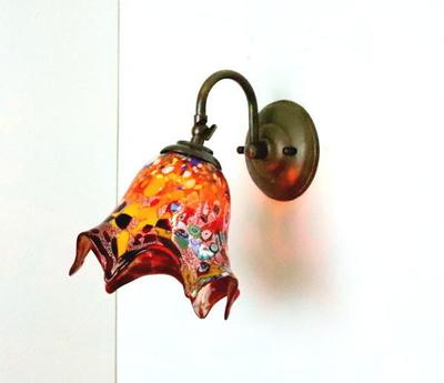 ベネチアングラスブラケットランプ fc-w004-fazoletto-red