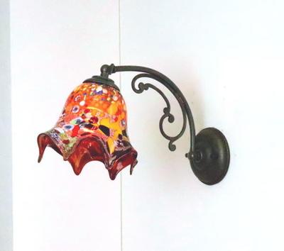 ベネチアングラスブラケットランプ fc-w10ay-silver-fazoletto-red