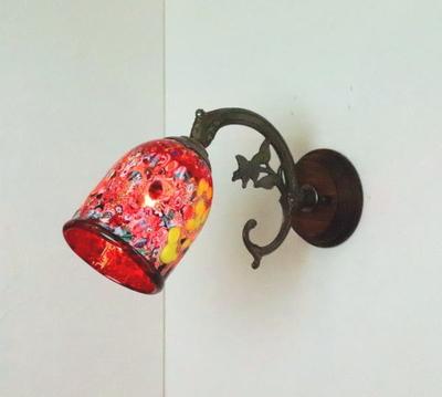ベネチアングラスブラケットランプ fc-ww621-silver-goto-red