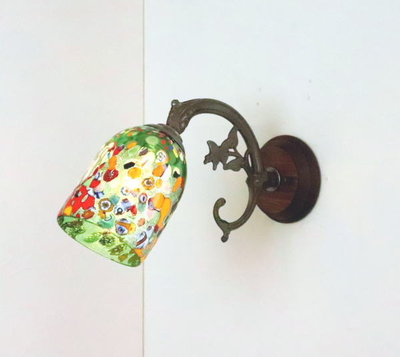 ベネチアングラスブラケットランプ fc-ww621-silver-goto-green