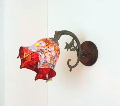 ベネチアングラスブラケットランプ fc-ww621-fazoletto-red