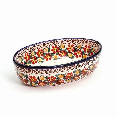 ポーリッシュポタリー グラタン/楕円皿 電子レンジ/オーブン/食洗器対応