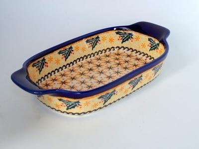 ポーリッシュポタリー 持ち手ありグラタン皿 電子レンジ/オーブン/食洗器対応