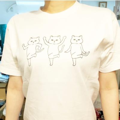 オリジナルネコTシャツ 3匹のシュールネコ 白 (ネコポストカード付き)