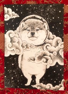 オリジナルポストカード 宇宙柴犬