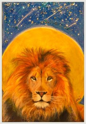 イラスト原画 月のライオン ハガキサイズ