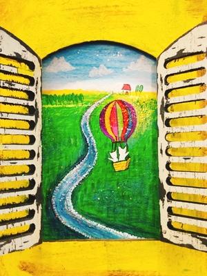 オリジナルイラスト原画 夢の気球に乗って  置き型額付き
