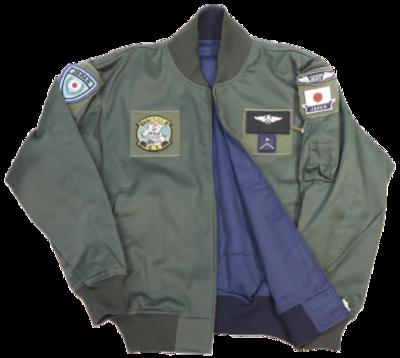 フライトジャンパー カーキー/紺 リバーシブル《イラクパッチ/12飛行隊刺繍入》