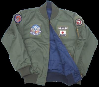 フライトジャンパー カーキー/紺 リバーシブル《BIパッチ/12飛行隊刺繍入》