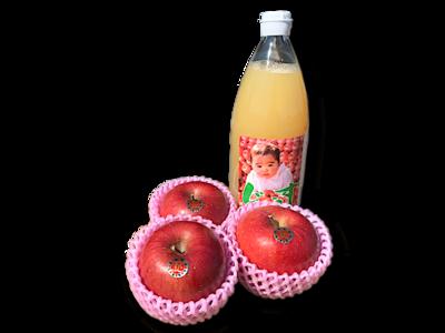 【Autumn04】りんごジュース&旬の林檎3玉
