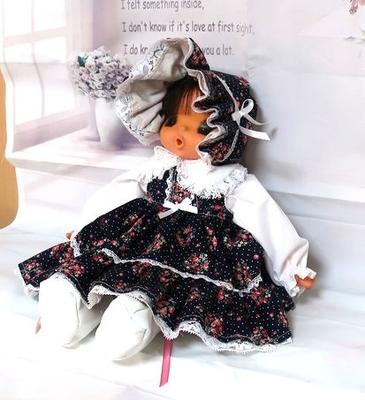 ドール服 濃紺 花柄ジャンスカセット 36㎝ジェジェちゃんサイズ